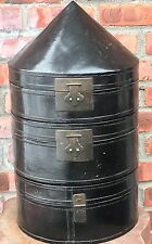 Antique Black Lacquer Chinese Hat Box. Three Tier Cone Top. Red Lacquer Interior