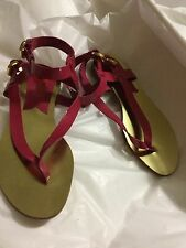 NEW KORS by Michael Kors Pink Patent Leather Thong Sandals w/ Ankle Strap - 6