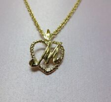 "14KT GOLD EP PERSONALIZED LETTER M HEART INITIAL WITH AN 18"" ROPE CHAIN"