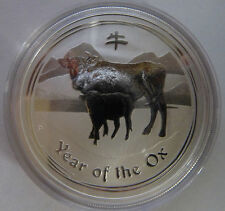 2009 Australian Perth Mint Lunar Year of the Ox 1oz .999 Silver Bullion Coin