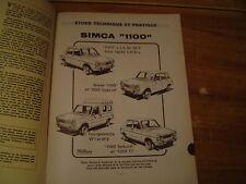 REVUE TECHNIQUE RTA SIMCA 1100 3, 5 portes - breaks - fourgonnette VF1  - VF2
