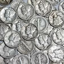 Five Silver Mercury Dimes 90% Circulated Junk Survival Prepper 50 Cents Face