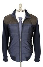 PAUL & SHARK Yachting Navy Wool Leather Quilted Zip Puffer Coat Jacket L NWT
