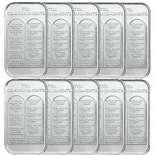 Ten Commandments 1 Ounce .999 Silver Bar by SilverTowne-10 Bars