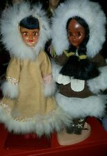 vintage set of 2 Eskimo Child Dolls Alaska Souvenir Real Fur Trim Coats
