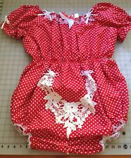 Red Polka Dot Lockable Sissy ABDL Adult Baby Cotton Open Crotch Romper