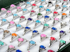 20 pcs Wholesale Lots Rings Colourful Natural Cat Eye Gemstone Stone Rings