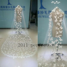Butterfly Wedding Veils White 1 Layer Appliques 3 Meters Custom Made Bridal Veil