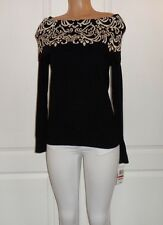 NEW CHARTER CLUB NEW Black-Ivory Printed Long Sleeves Sweater Top (S)