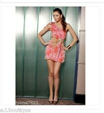 VICKY MARTIN pink peach silk one shoulder floral mini dress BNWT 12 RRP £155!!!