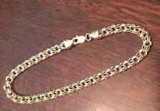 14K SOLID YELLOW GOLD 3.75mm  POLISHED DOUBLE LINK CHARM BRACELET  5 GRAMS  7""