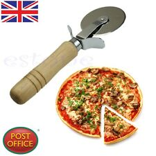 1 x Stainless Steel Wood Handle Nonstick Pizza Cutter Wheel Slicer Blade Grip
