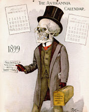 Doctor Skull Calendar Vintage Skeleton Anatomy Painting Real Canvas Art Print