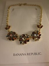 Banana Republic Flower Crystal Mutli Color Fan Statement Necklace NIP $89.50