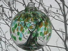 "Hanging Glass Ball 4"" Diameter ""Winter Tree"" Witch Ball (1) GB5"
