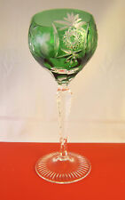 Nachtmann Crystal Cut to Clear Hock Wine Glass Traube Emerald Green Germany