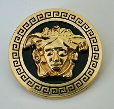 GOLD BLACK YSL BROOCH PIN MEDUSA HEAD