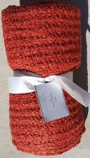 POTTERY BARN~BOUCLE THROW BLANKET in SAFFRON RED RUST ORANGE ~OTHER COLORS AVAIL