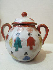 ancien sucrier en porcelaine asiatique chine ou japon decor geisha