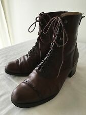 Parker Roche Australia  Women's Brown Leather Mid-Calf Lace Up Boots - Size 8.5