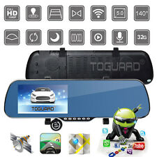 "5"" Android WiFi HD 1080p Dual Lens GPS Car Dash Cam Camera Rearview Mirror"
