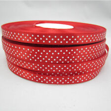 "New 50 Yards 3/8"" 9mm Red Bulk Polka Dot Ribbon Satin Craft Supplies crafts E"