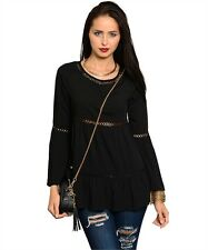 XS Boho Gothic Emo Goth Hippie Renaissance Medieval Pirate Wench Gypsy Top Tunic