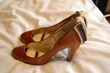 Maloles Brown Patent Leather Heels Shes with Ballet- like Sole Size 37 1/2 Spain