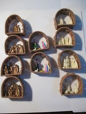 LOT 10 PLASTIC CANVAS MANGER HARD PLASTIC NATIVITY CHRISTMAS ORNAMENTS