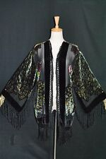Hippie Peacock Duster Kimono Opera Coat Silk Burnout Velvet Classic Black Short
