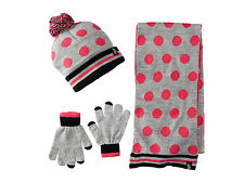 NWT U.S. POLO ASSN. Polka Dot Cuffed Beanie Set Cozy Scarf Hat Gloves Gray -