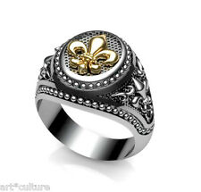Fleur-de-lis Ring Masonic- Medieval Gold Plated k24 & Silver 925