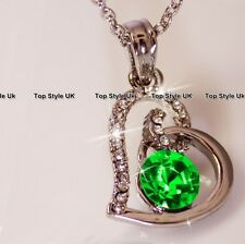 Round Diamond Heart Necklace Green Crystal Pendant Chain Presents for Her TU1