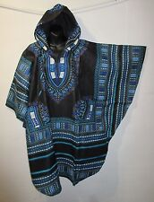 Top Dress 3X 4X Plus Hoodie Black Blue African Dashiki Tribal with Hood NWT G825