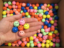 "25 SMILE FACE SUPER HIGH BOUNCE BALLS 27MM 1"" HI BOUNCY SUPERBALL PARTY FAVORS"