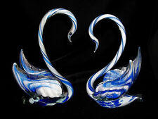 "Vtg Blue stripe Neck Murano Art Glass Swans Sommerso Love Birds 8"" Tall"