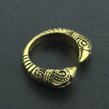Viking Celtic Pagan Norse reenactment  Raven Gold Adjustable Torc finger Ring