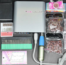 Electric Acrylic Nail Drill File Machine 30000 RPM Sand Bits Manicure Kit #220