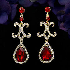 18K Gold Plated GP Red Crystal Rhinestone Chandelier Drop Dangle Earrings 06169