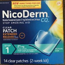 New 14 Nicoderm CQ Step 1 Nicotine 21mg Patches STOP SMOKING aid 2 week kit