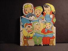 Vintage 1940s CHRISTMAS Stand-Up Card w/8 Children Caroling
