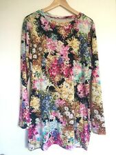 SUPRE Ladies Floral Multgicolour Long-sleeved Dress Tunic Size M