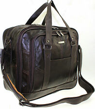 LORENZ MENS WOMENS REAL LEATHER TRAVEL CABIN WEEKEND SHOULDER CASE BAG BROWN