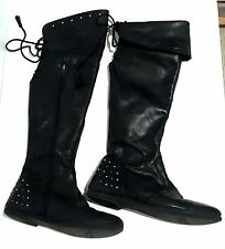 Primigi Over the Knee Convertible High Leather Boots Lace Studded EU 37 6.5 U.S