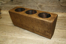 3 Hole Wooden Sugar Mold Wood Candle Holder Primitive