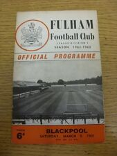09/03/1963 Fulham v Blackpool  (Creased, Light Marking). Item appears to be in g