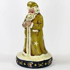 """Nancy Thomas SANTA'S CAT 8.25"""" Ceramic Figurine Gold Star Coat Cupid Base Kitten"""