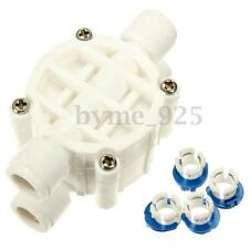 """White 1/4"""" 4 Way Auto Shut Off Valve Quick Connect Reverse Osmosis Filter System"""
