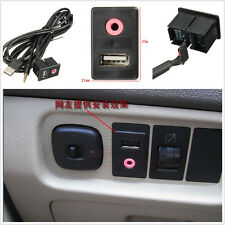 DIY Car 3.5mm USB Socket AUX Headphone Male Jack Adapter Panel Input 1.5m Cable