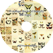 12 Antique Facsimiles of Butterfly Insect Books 1800 color plates on 3 DVD